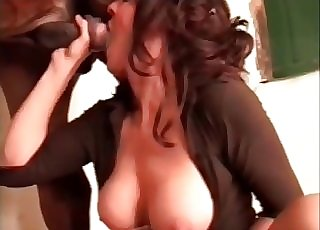 Marvelous buxom chick is sucking her stallion